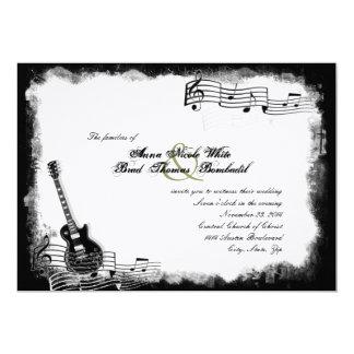 Convite Funky do casamento da música da guitarra