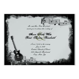 Convite Funky do casamento da música da guitarra e