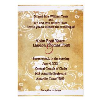 Convite gasto do casamento do pergaminho