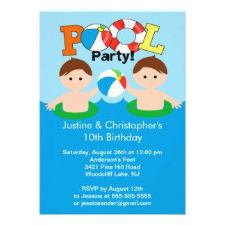 Convite gêmeo BONITO do aniversário da festa na pi