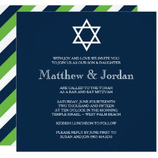 Convite gêmeo de Mitzvah do bar - moderno