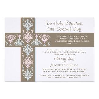 Convite gêmeo do batismo do menino e da menina