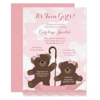 Convite gêmeo do chá de fraldas do urso de ursinho