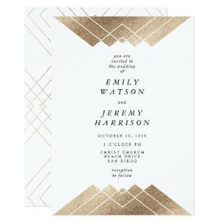 Convite geométrico do casamento de Gatsby do ouro