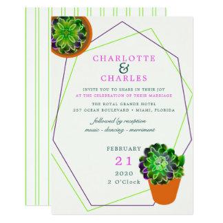 Convite geométrico do casamento do Succulent