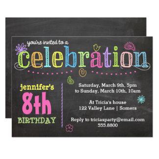 Convite-Giz da festa de aniversário + Néon Convite 12.7 X 17.78cm