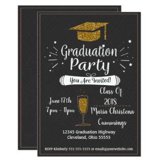 Convite Glittery da festa de formatura do quadro