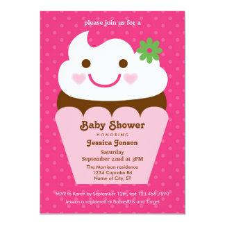 Convite grande do chá de fraldas do cupcake