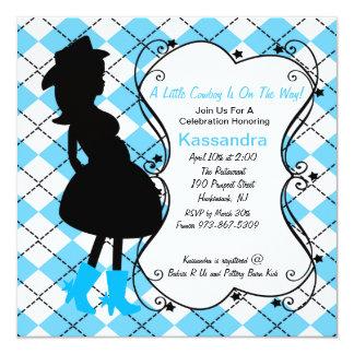 Convite grávido do chá de fraldas da xadrez convite quadrado 13.35 x 13.35cm