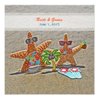 Convite havaiano do casamento do casal da estrela