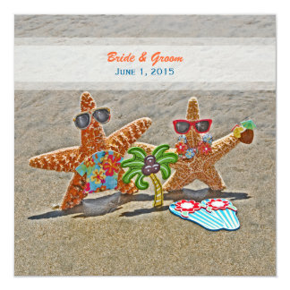 Convite havaiano do casamento do casal da estrela convite quadrado 13.35 x 13.35cm