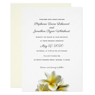 Convite havaiano do casamento do Plumeria amarelo