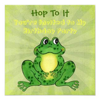 Convite Hoppy do aniversário do sapo