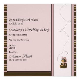 Convite horizontal bonito das listras do urso de convite quadrado 13.35 x 13.35cm