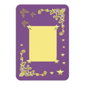 Convite/horizontalmente cartão roxos da estrela convite 8.89 x 12.7cm