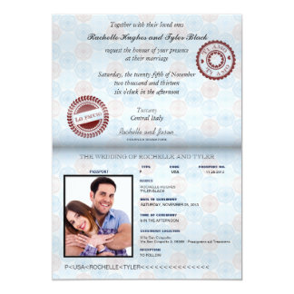 Convite II do casamento do passaporte de Italia