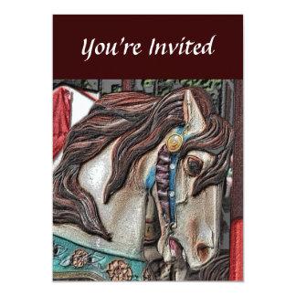 Convite impetuoso da arte do lápis do cavalo do convite 12.7 x 17.78cm