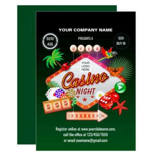 Convite incorporado da noite do casino das férias