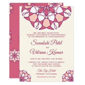 Convite indiano do casamento da mandala