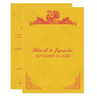 Convite indiano do casamento do açafrão e do pavão