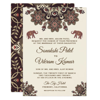 Convite indiano do casamento do Henna elegante do
