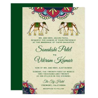 Convite indiano do casamento dos elefantes