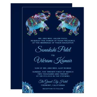 Convite indiano do casamento dos elefantes étnicos