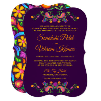Convite indiano floral colorido do casamento de