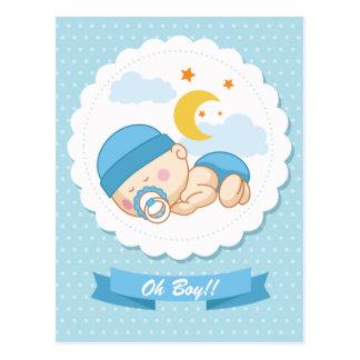 Convite infantil do chá de fraldas do menino do cartão postal
