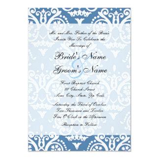 Convite inglês azul e branco do casamento convite 12.7 x 17.78cm