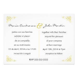 Convite inglês-espanhol bilíngüe do casamento