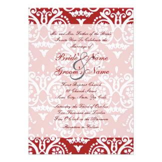 Convite inglês vermelho e branco do casamento