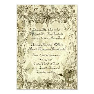 Convite italiano do casamento do Verdigris do Convite 12.7 X 17.78cm