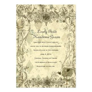 Convite italiano do casamento do Verdigris do vint
