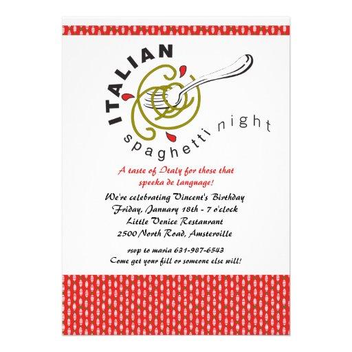 Convite italiano dos espaguetes