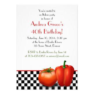 Convite italiano retro do aniversário