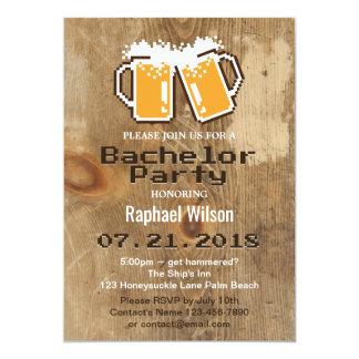 Convite legal do cerveja do pixel & o de madeira