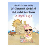Convite legal do chá de fraldas da praia para meni