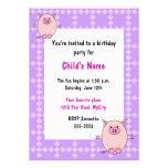 Convite leitão do aniversário das crianças cor-de-