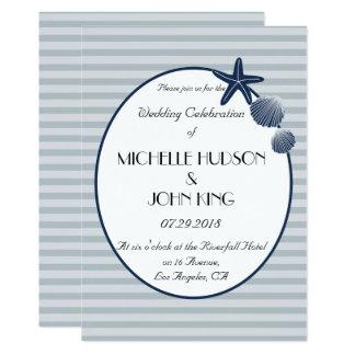 Convite listrado do casamento da praia náutica do