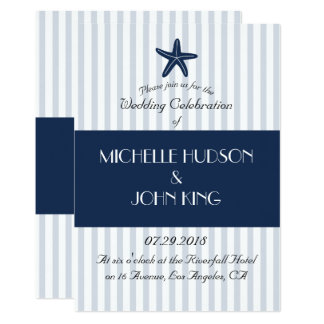 Convite listrado do casamento do marinheiro azul