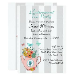 Convite listrado do tea party da aposentadoria das