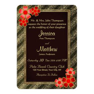 Convite listrado floral vermelho do casamento do
