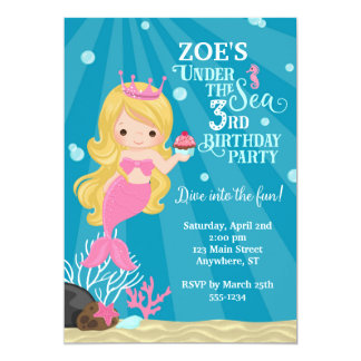Convite louro do aniversário de 3 anos da sereia