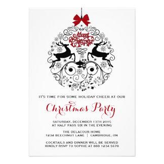 Convite lunático da festa de Natal dos ornamento