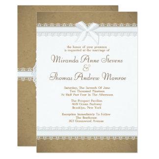 Convite lunático do casamento do laço do país