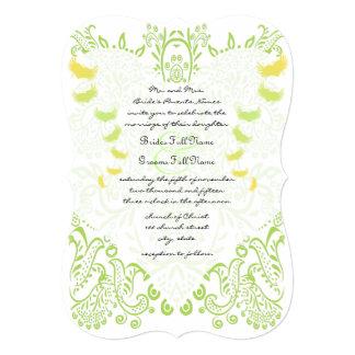 Convite lunático do casamento do pássaro do verde