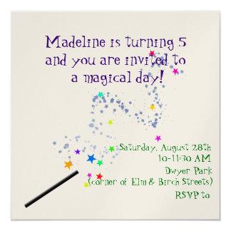 Convite mágico 2 do aniversário convite quadrado 13.35 x 13.35cm