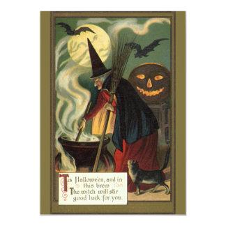 Convite mágico do caldeirão da bruxa do Dia das