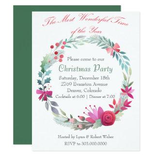 Convite maravilhoso da festa de Natal da grinalda